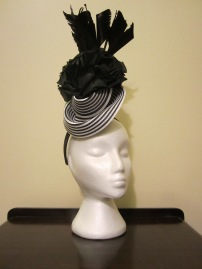 Monochrome Straw and Silk headpiece - $80