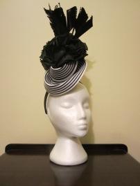 Monochrome Straw and Silk headpiece - $80