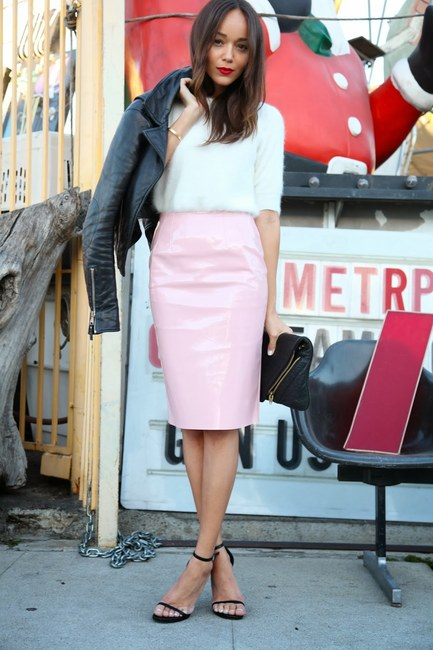 ashley-madekwe-and-topshop-pale-pink-vinyl-pencil-skirt-gallery